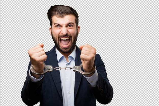 Young businessman showing sign