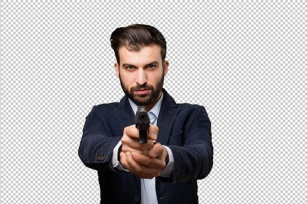 Молодой предприниматель с ружьем