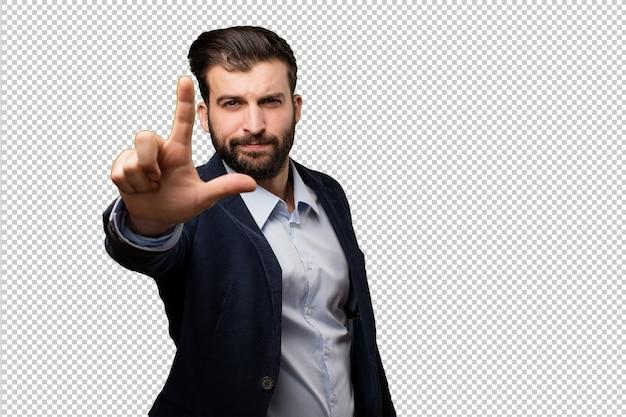 若い、ビジネスマン、スーツケース
