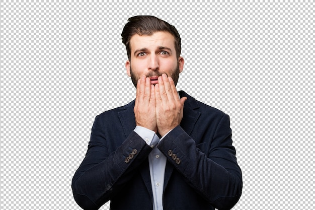 Young businessman with a beer