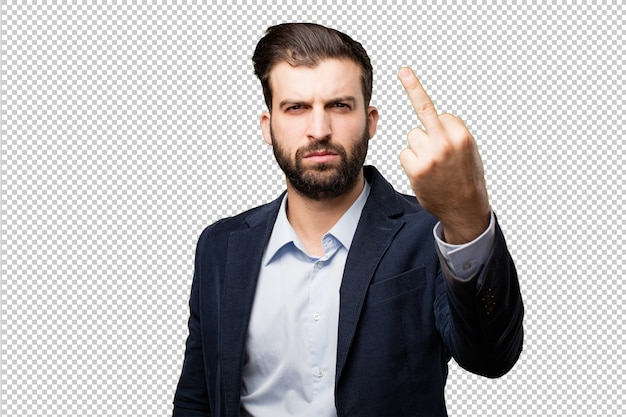 Young businessman with a clock
