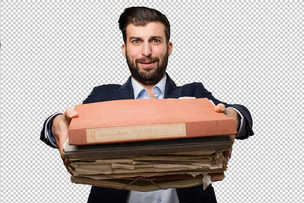 Young businessman with files