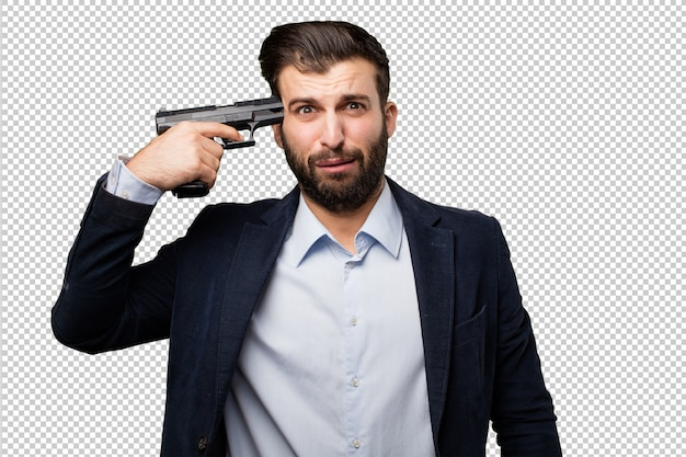 Young businessman with a gun