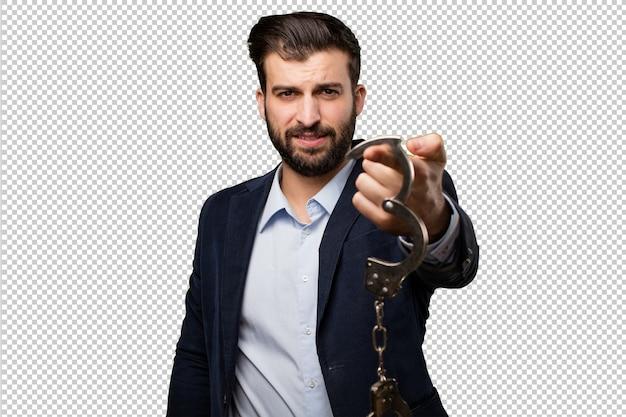 若い、ビジネスマン、手錠