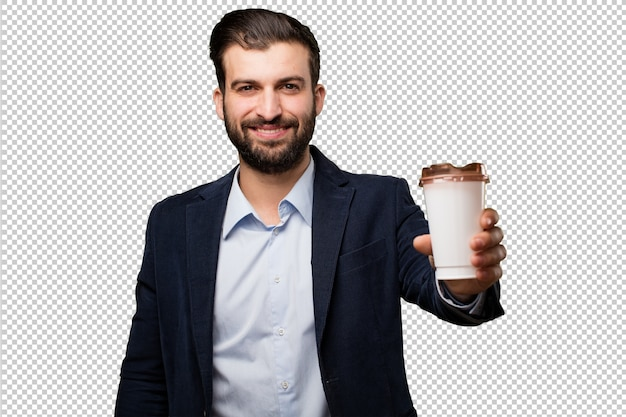 Young businessman with a sand clock