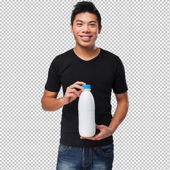 Young chinese man drinking milk