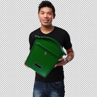 メールボックスを保持している若い中国人男性