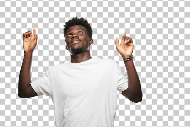 Young cool black man sign. cut out person against monochrome background