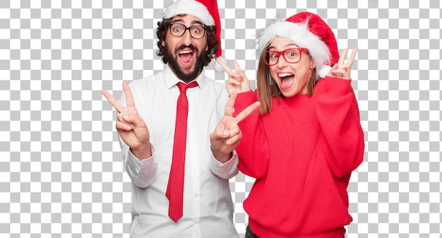Young couple expressing christmas concept. couple and background in different layers