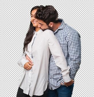 愛の若いカップル