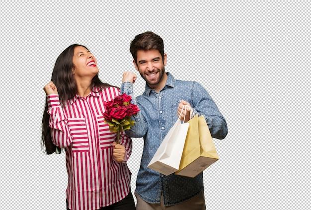항복하지 않는 발렌타인 데이에 젊은 부부
