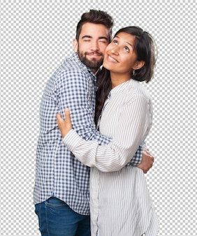 Young couple in love over white