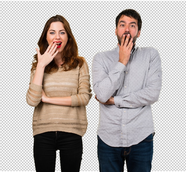 Young couple making surprise gesture
