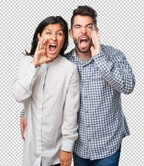Young couple shouting