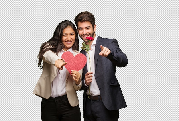 Young couple in valentines day cheerful and smiling