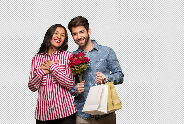 Young couple in valentines day doing a romantic gesture