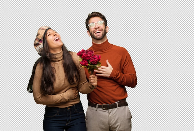Young couple in valentines day laughing and having fun
