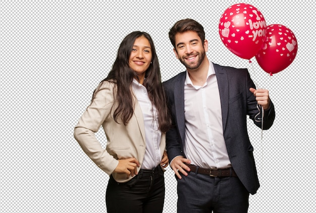 Young couple in valentines day with hands on hips