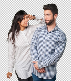 Young couple with bad smell