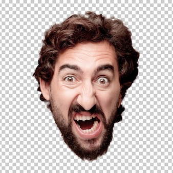 Young crazy bearded man cutout head expression isolated.. angry expression