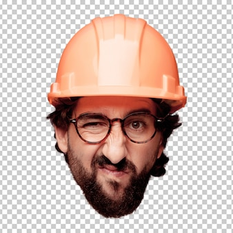 Young crazy bearded man cutout head expression isolated. architect role. angry expression