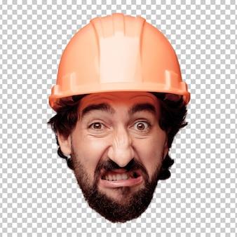 Молодой сумасшедший бородатый человек вырезать выражение лица изолированы. построенная роль рабочего. сердитое выражение