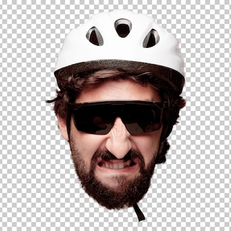 Young crazy bearded man cutout head expression isolated. cyclist role. angry expression