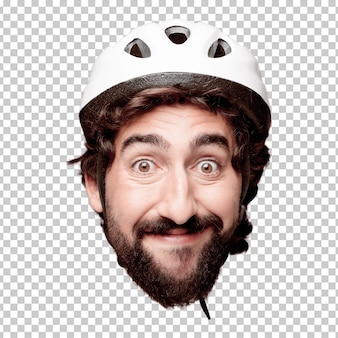 Young crazy bearded man cutout head expression isolated. cyclist role. happy pose