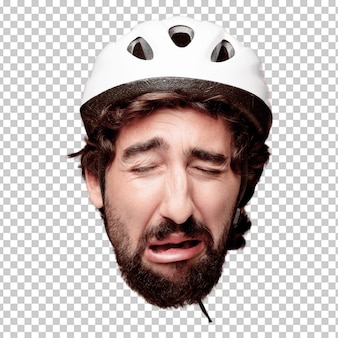 Young crazy bearded man cutout head expression isolated. cyclist role. sad concept