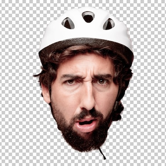 Young crazy bearded man cutout head expression isolated. cyclist role. scared concept