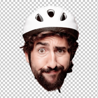 Young crazy bearded man cutout head expression isolated. cyclist role. surprised concept