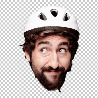 Young crazy bearded man cutout head expression isolated. cyclist role. thinking concept