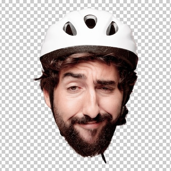 Young crazy bearded man cutout head expression isolated. cyclist role