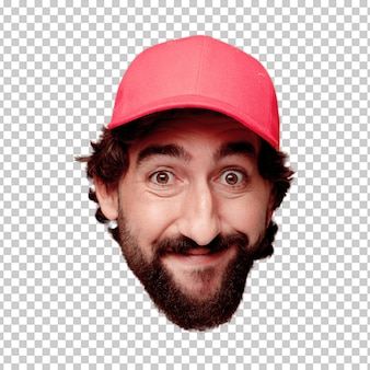Young crazy bearded man cutout head expression isolated. delivery courier role. happy pose