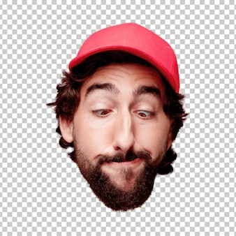 Young crazy bearded man cutout head expression isolated. delivery courier role. joking concept