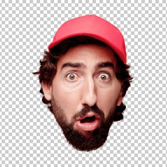 Young crazy bearded man cutout head expression isolated. delivery courier role. scared concept