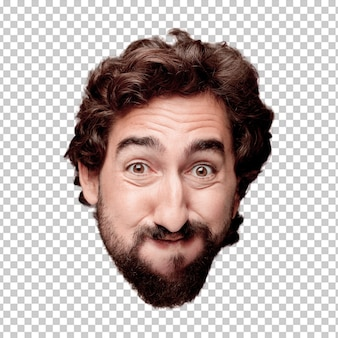 Young crazy bearded man cutout head expression isolated.. happy pose
