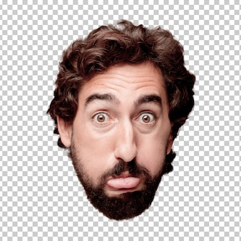 Young crazy bearded man cutout head expression isolated.. joking concept