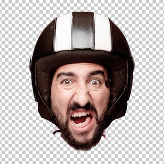 Young crazy bearded man cutout head expression isolated. motorbike rider role. angry expression