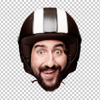 Young crazy bearded man cutout head expression isolated. motorbike rider role. surprised concept