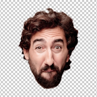 Young crazy bearded man cutout head expression isolated.. sad concept