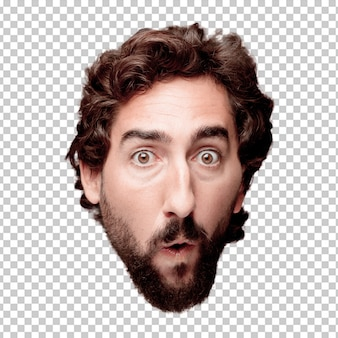 Young crazy bearded man cutout head expression isolated.. scared concept