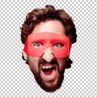 Молодой сумасшедший бородатый человек вырезать выражение лица изолированы. супер героя роль. сердитое выражение