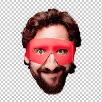 Молодой сумасшедший бородатый человек вырезать выражение лица изолированы. супер героя роль. счастливая поза Premium Psd