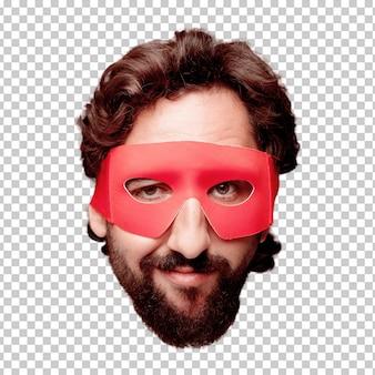 Молодой сумасшедший бородатый человек вырезать выражение лица изолированы. роль супергероя Premium Psd