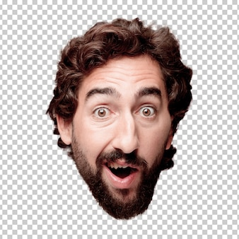 Young crazy bearded man cutout head expression isolated.. surprised concept