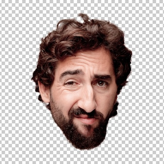 Young crazy bearded man cutout head expression isolated.. thinking concept