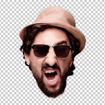 Young crazy bearded man cutout head expression isolated. tourist role. angry expression