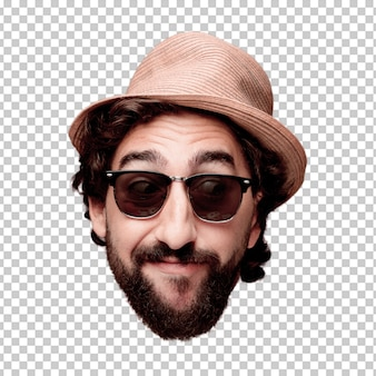 Young crazy bearded man cutout head expression isolated. tourist role. thinking concept