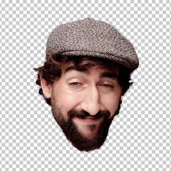 Young crazy bearded man cutout head expression isolated. wearing a beret